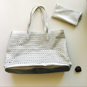 Saks Fifth Avenue Bags - Saks Fifth Avenue Silver Tote And Wristlet NWOTS